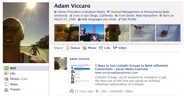 New Facebook Profile