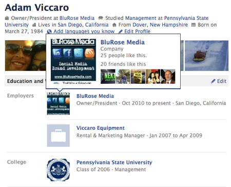 Facebook Info Page Hover