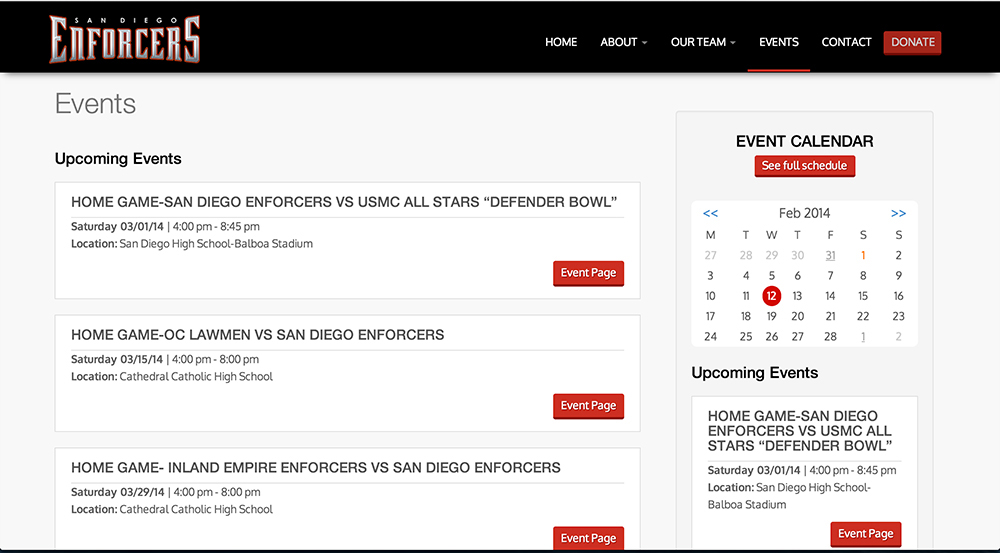 Enforcers Events Page